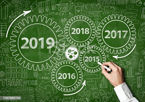 istock 2019 New Year progress / Blackboard concept with wheels (Click for more) 1082683194