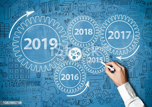 istock 2019 New Year progress / Blue board concept with wheels (Click for more) 1082685748