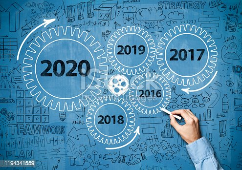 1034181368 istock photo 2020 New Year progress / Blue board concept with wheels (Click for more) 1194341559