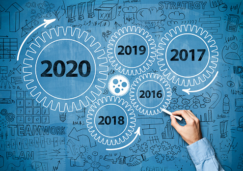 619522908 istock photo 2020 New Year progress / Blue board concept with wheels (Click for more) 1194341559