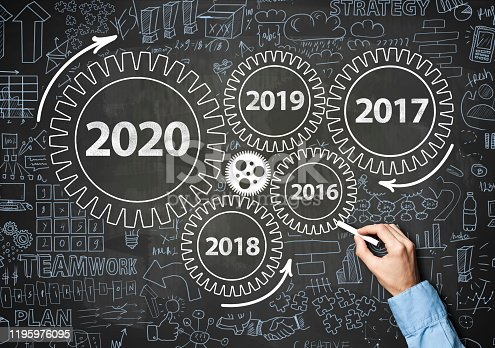 1034181368 istock photo 2020 New Year progress / Blue board concept with wheels (Click for more) 1195976095