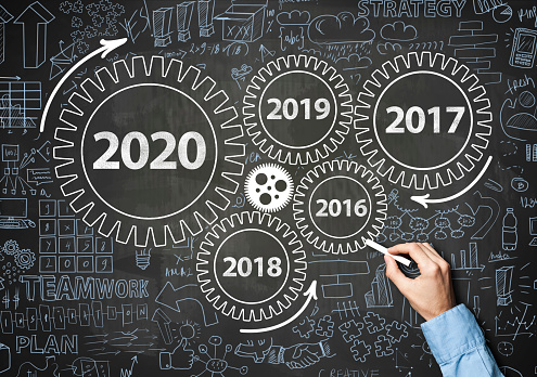 619522908 istock photo 2020 New Year progress / Blue board concept with wheels (Click for more) 1195976095