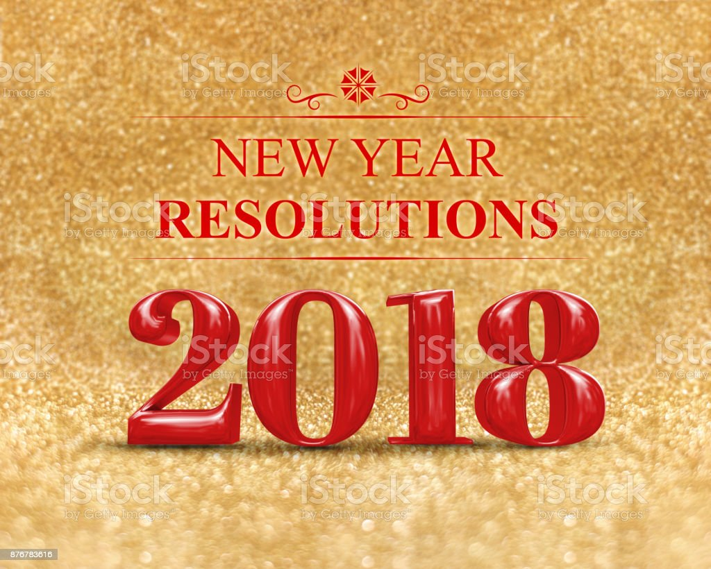 New year resolution 2018 on gold sparkle glitter perspective floor to...