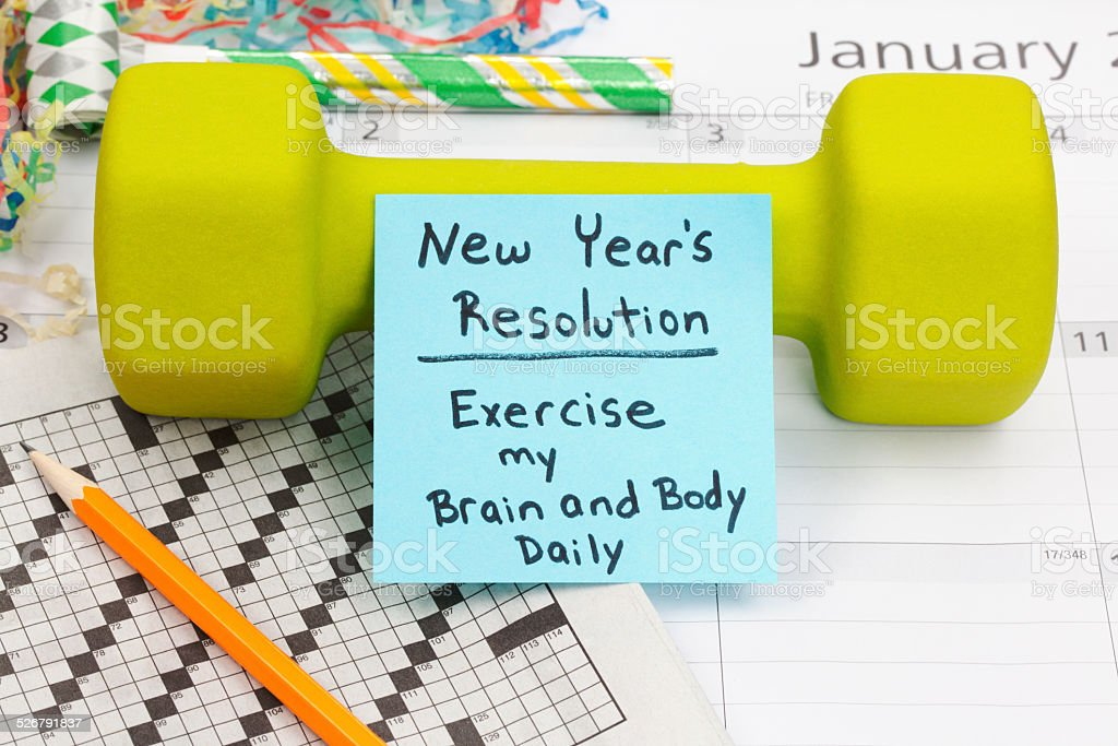 New Year Resolution: Exercise Body and Brain stock photo