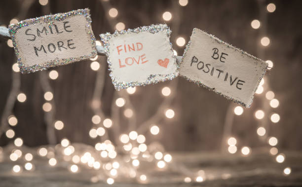 New Year resolution over bokeh lights background stock photo