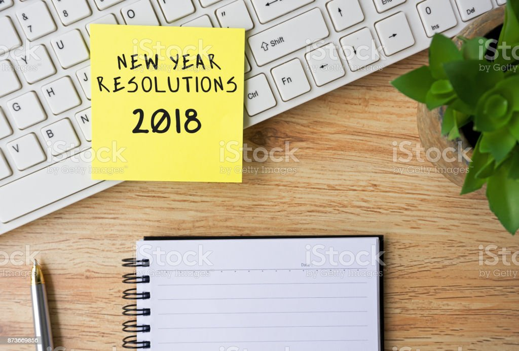 New Year Resolutions 2018 stock photo