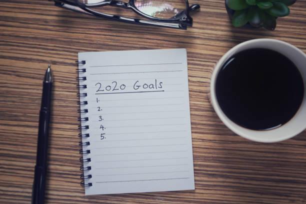 neujahr resolutionen konzept. - ideen für silvester stock-fotos und bilder