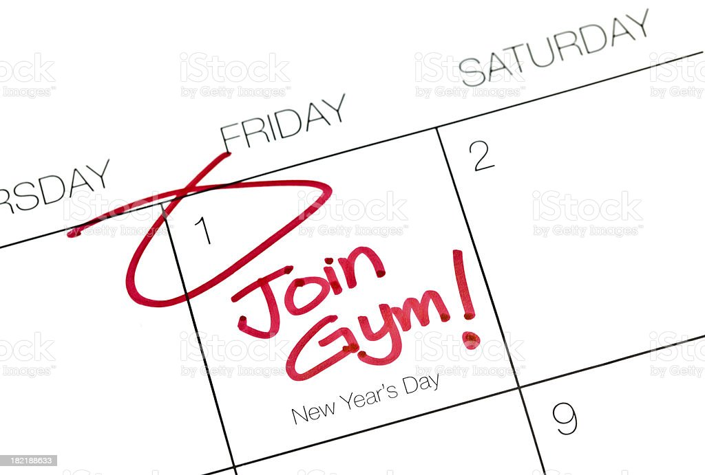New Year Resolutions Join Gym stock photo