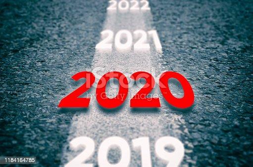 1065669434 istock photo 2020 New Year Road 1184164785