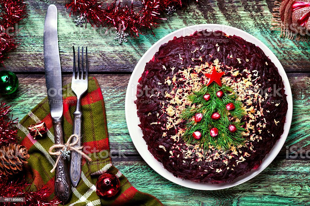 New Year salad with Christmas tree stock photo