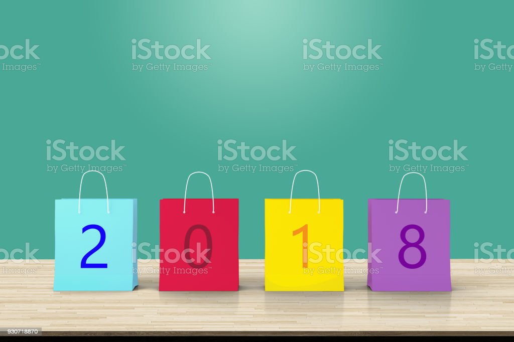 New Year sale 2018, colorful paper shopping bag and copy space for art work design ad or add text message. background add text Happy New year. stock photo