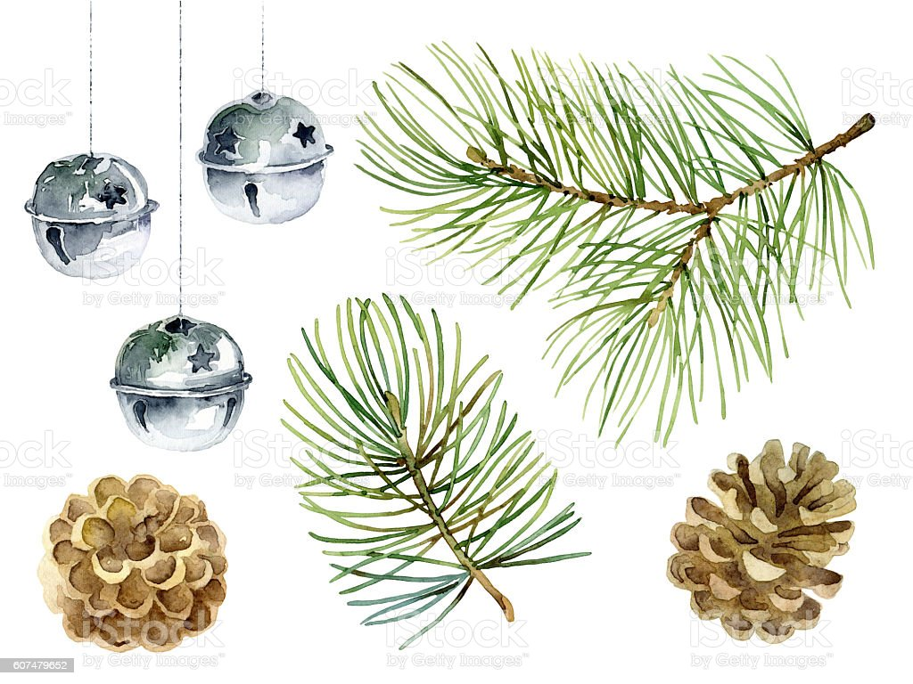 New Year set of pine branches, balls and cones stock photo