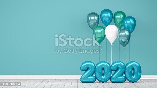 Shiny balloons, empty room,  wall, christmas, greeting card, 2020