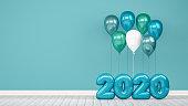 Shiny balloons, empty room,  wall, christmas, greeting card, 2020