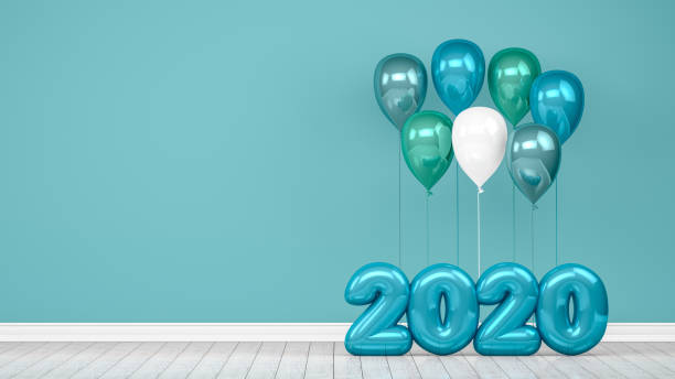 2020 New Year Shiny Balloons in Empty Room. Christmas Concept stock photo
