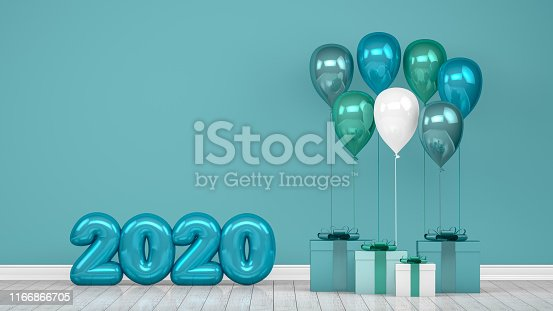 istock 2020 New Year Shiny Balloons in Empty Room. Christmas Concept 1166866705
