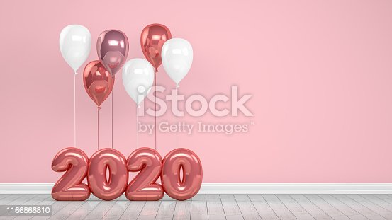 1073585628 istock photo 2020 New Year Shiny Balloons in Empty Room. Christmas Concept 1166866810