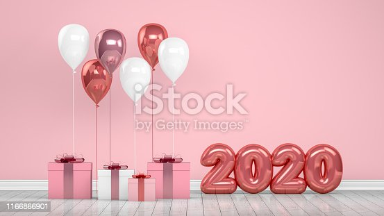 1073585628 istock photo 2020 New Year Shiny Balloons in Empty Room. Christmas Concept 1166866901