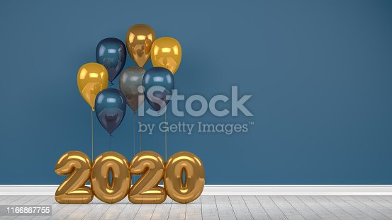 istock 2020 New Year Shiny Balloons in Empty Room. Christmas Concept 1166867755