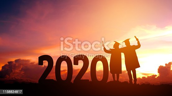 istock 2020 New year Silhouette people graduation in 2020 years education congratulation concept ,Freedom and Happy new year 1158834817