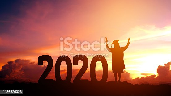 istock 2020 New year Silhouette people graduation in 2020 years education congratulation concept ,Freedom and Happy new year 1186826023