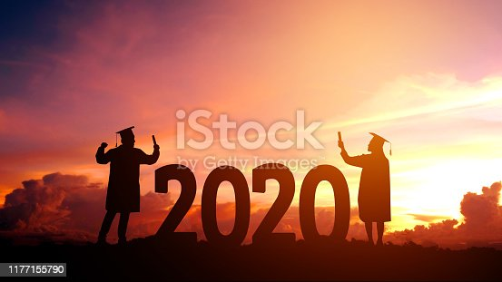 istock 2020 New year Silhouette young man Freedom and Happy new year concept 1177155790