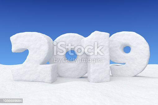 1078018146 istock photo New Year snow text 2019 on snow under blue sky 1056699684