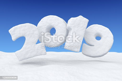 1078018146 istock photo 2019 New Year snow text over snow under blue sky 1056699696