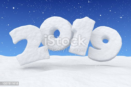 1078018146 istock photo 2019 New Year snow text over snow under snowfall 1057811618