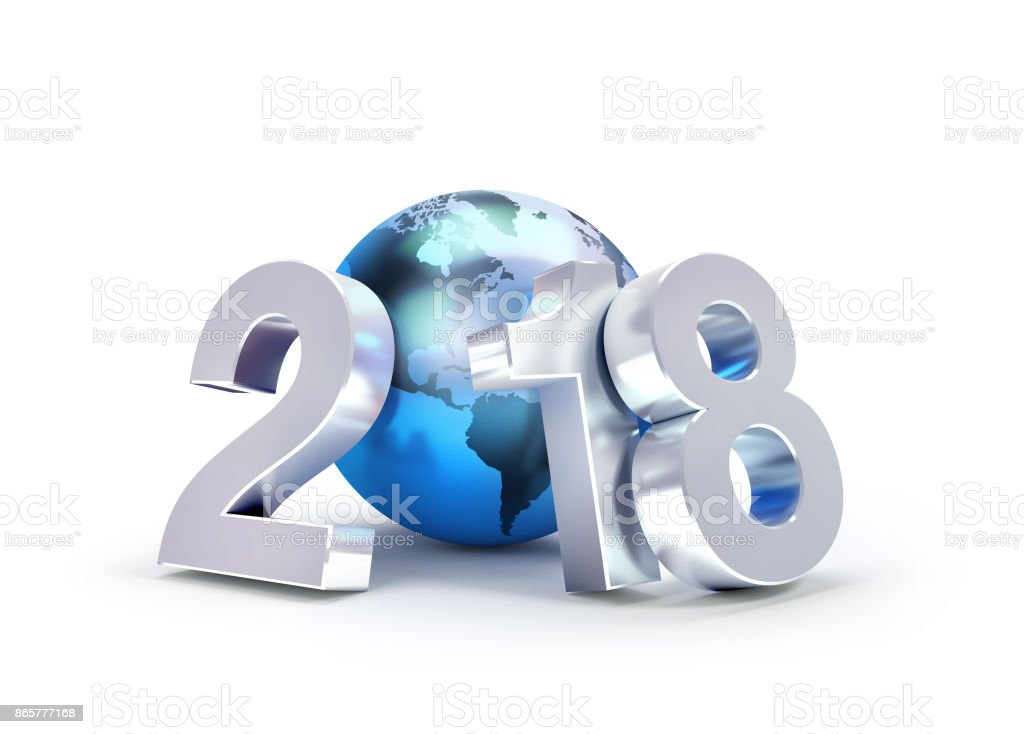 2018 New Year symbol for worldwide business stock photo