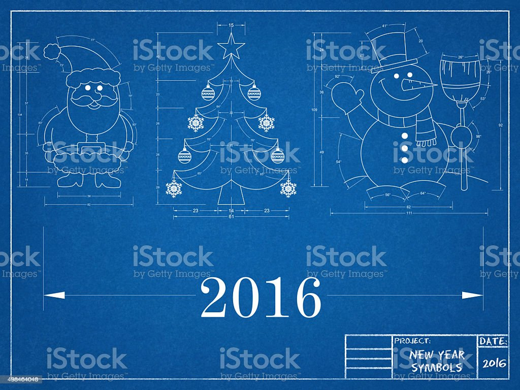 New Year Symbols - Blueprint stock photo