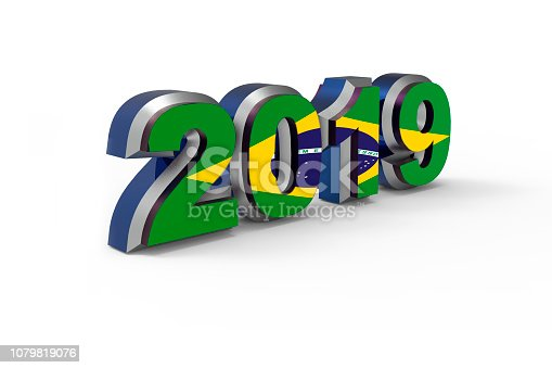 istock New year text 2019 with Flag of Brazil 3d rendering 1079819076