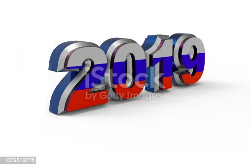 istock New year text 2019 with Russian Flag 3d rendering 1079819278