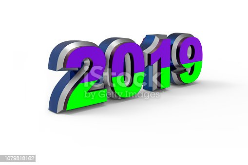 istock New year text 2019 with Ukrainian flag 3d rendering 1079818162