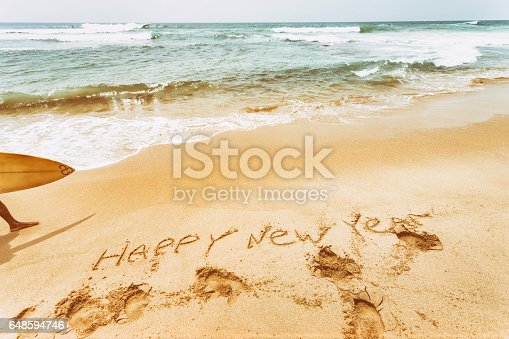 istock New Year text on the sea beach. Retro vintage. 648594746
