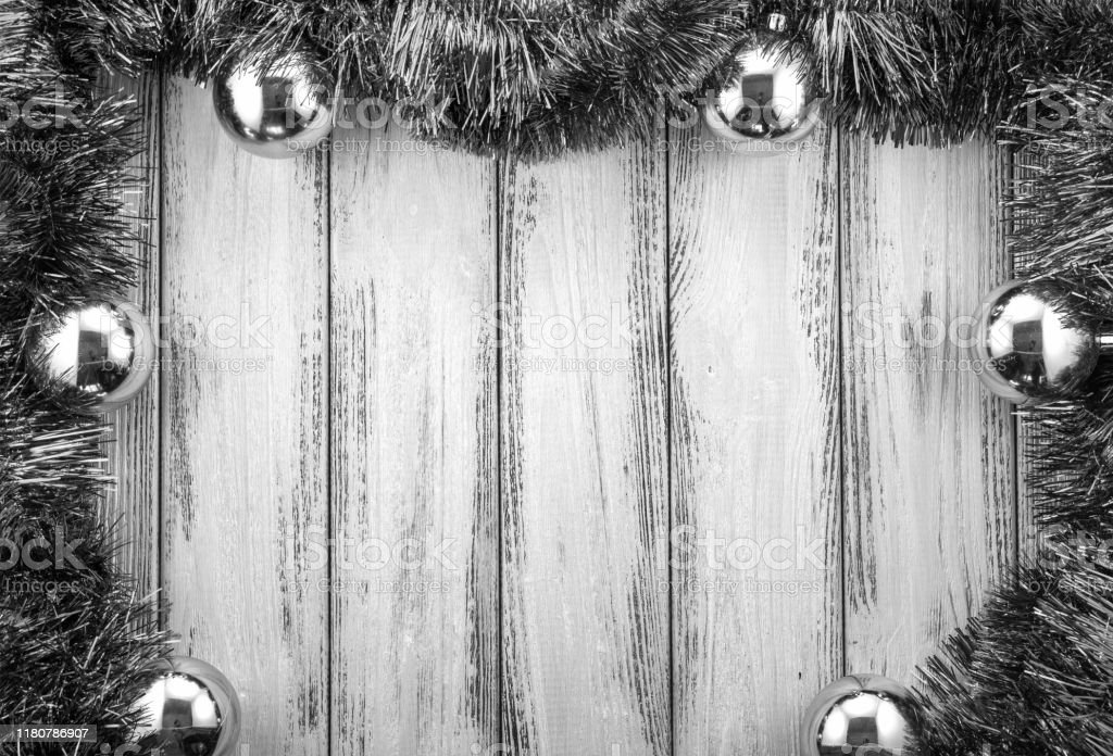 New Year Theme Christmas Tree Decoration And Balls On Retro Stylized Wood Background Black And White Stock Photo Download Image Now Istock