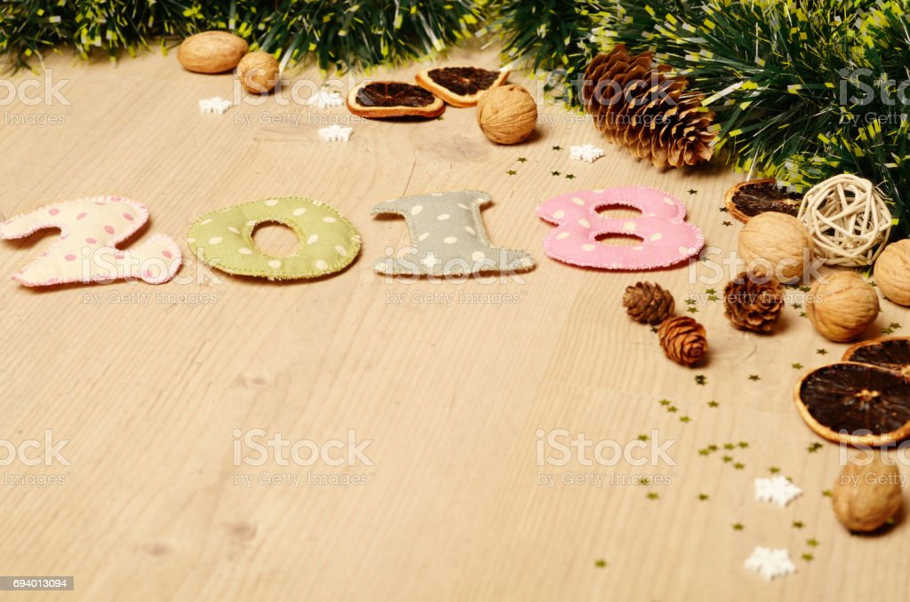 new year theme decoration figures of 2018 royalty free stock photo