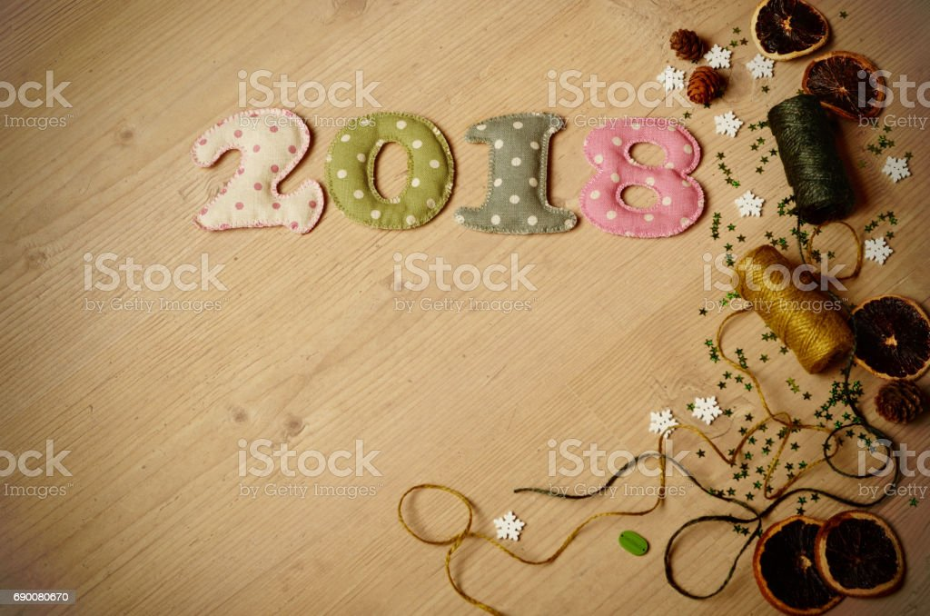 new year theme decoration figures of 2018 with coils royalty free stock photo