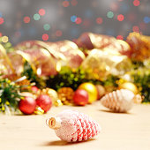 new year theme decorations with fir cones