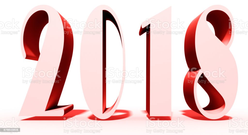 new year theme on white ground and 2018 text royalty free stock photo