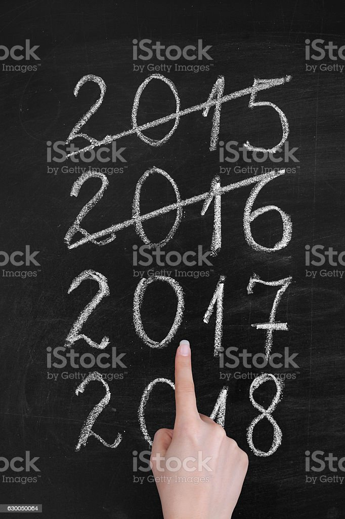 New Year timeline on blackboard. - Photo