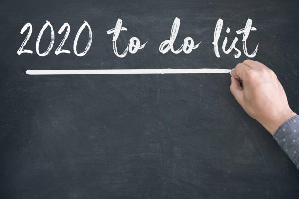 2020 Neujahr zu tun Liste auf Blackboard – Foto