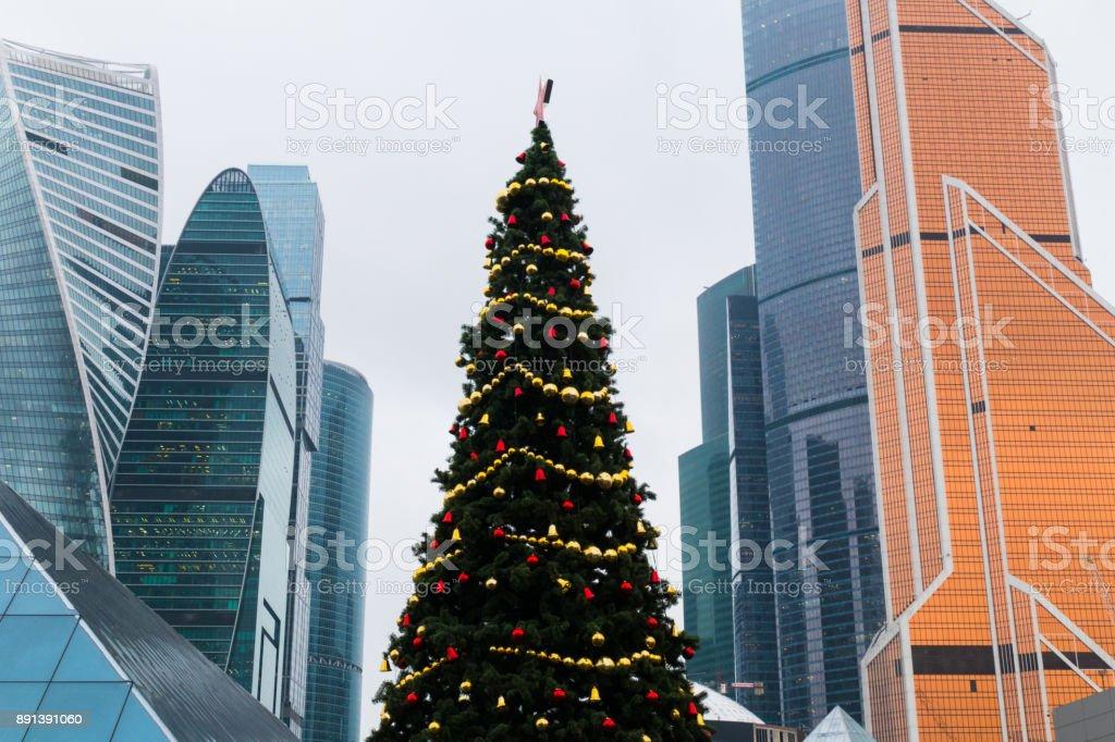 New Year tree among skyscrapers stock photo