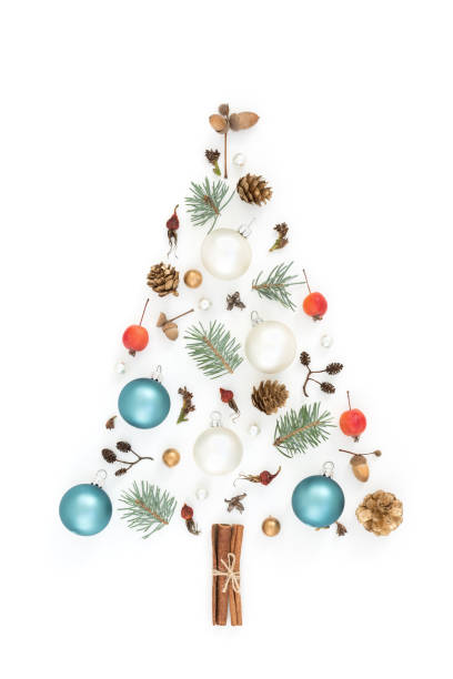 New year tree made of Christmas decorations. stock photo