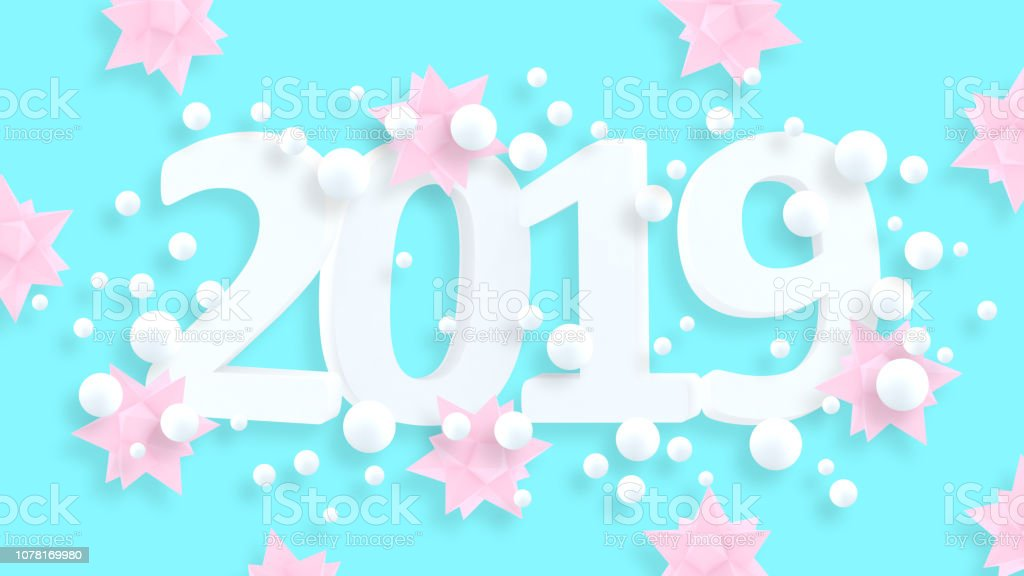 2019 New Year Wallpaper 3d Background Abstract Shapes 3d