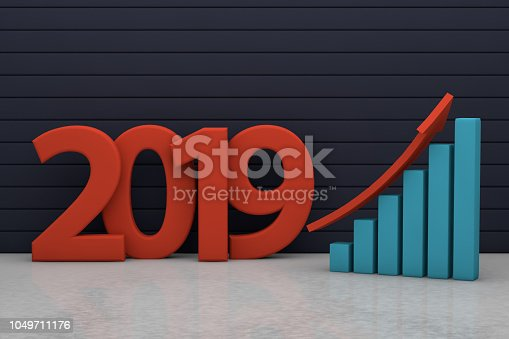 istock 2019 New Year with business chart and red up arrow 1049711176