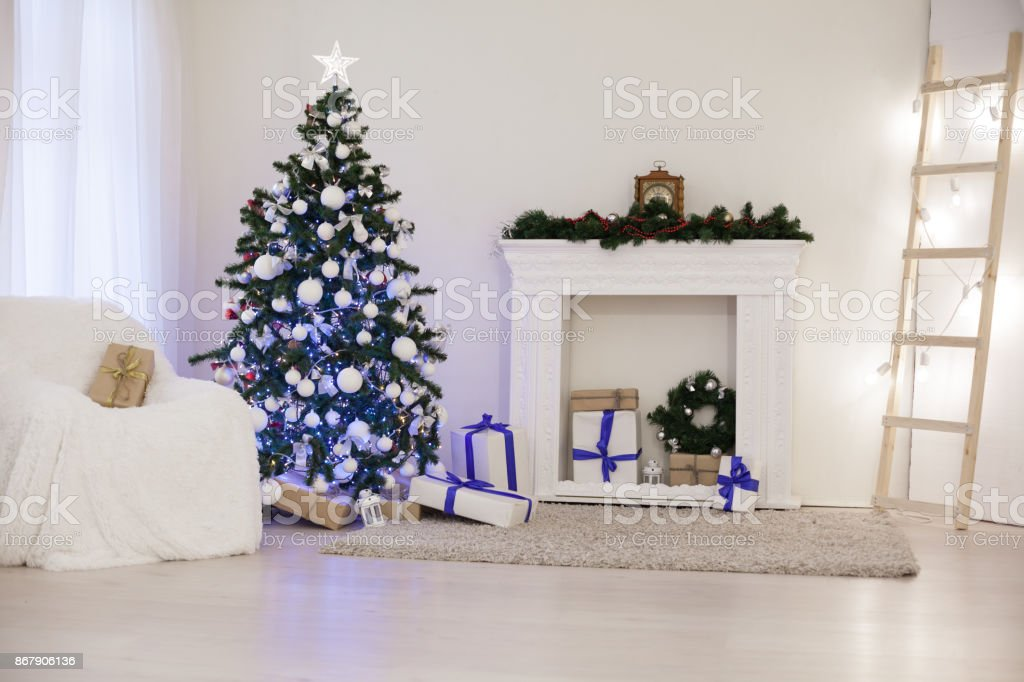 New Year With Christmas Tree Decor White Room Stock Photo More