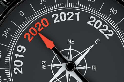 istock 2020 New Year with compass 1159531091