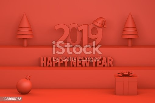 istock 2019 New Year with Santa Hat on staircase 1055666268