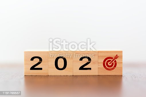 168589045 istock photo 2020 New year with target and arrow 1191765537